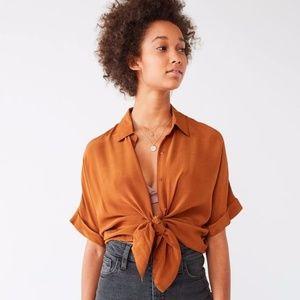 UO Oversized Short Sleeve Button Down 100% Silk- s